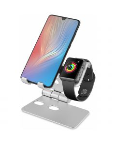 Xccess Foldable Aluminium 2in1 Holder for Apple iPhone and Watch Silver